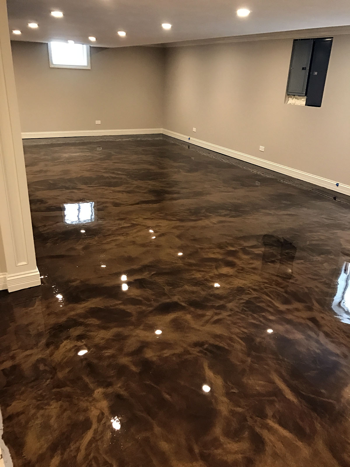 basement residential in witcraft metallic concrete decorative blog cary feature nc epoxy flooring floor raleigh